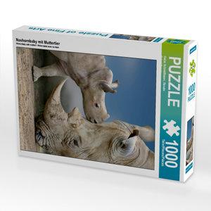 Nashornbaby mit Muttertier 1000 Teile Puzzle hoch