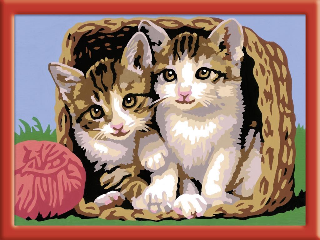 Ravensburger 28178 - Katze im Körbchen, MNZ, Malen nach Zahlen - zum Schließen ins Bild klicken