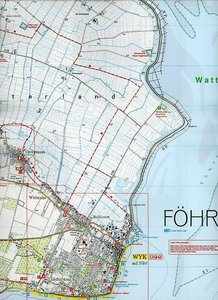 LVA SH 25 000 Wanderkarte Insel Amrum - Insel Föhr