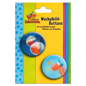 kl. Drache Kokosnuss - Wackelbild Buttons 2er Set
