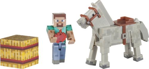 Minecraft - STEVE AND HORSE, bewegliche Sammelfigur mit Zubehör - zum Schließen ins Bild klicken