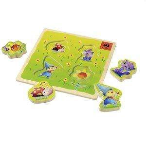 Schmidt Spiele 40950 - Holzpuzzle, Zauberwiese, 4 Teile