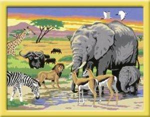 Tiere in Afrika. Malen nach Zahlen Serie C