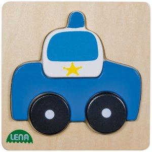 Lena 32085 - Holzpuzzle Polizeiauto