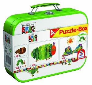 Raupe Nimmersatt, Puzzle-Box 2x26, 2x48 Teile im Metallkoffer