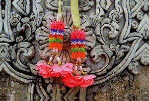 Premium Textil-Leinwand 90 cm x 60 cm quer Thailand, Tempelschmu