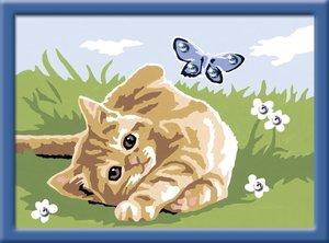 Kätzchen mit Schmetterling. Malen nach Zahlen Sonderserie E
