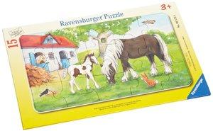 Ravensburger 06375 - Stute und Fohlen, 15 Teile Rahmenpuzzle