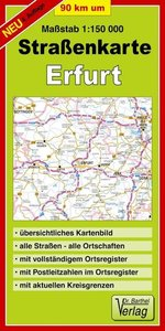 Neunzig km um Erfurt 1 : 150 000. Straßenkarte