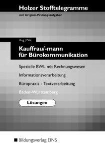 Stofftelegramm Kauffrau/-mann für Bürokommunikation. Lösungen. B