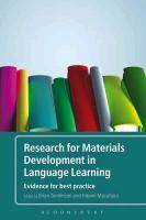 Research for Materials Development in Language Learning: Evidenc - zum Schließen ins Bild klicken