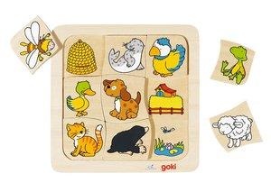 Goki - Legespiel: Wer lebt wo? 9-teilig aus Holz
