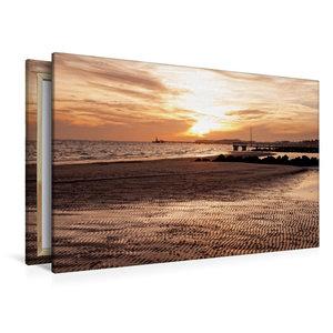 Premium Textil-Leinwand 120 cm x 80 cm quer Ebbe am Strand
