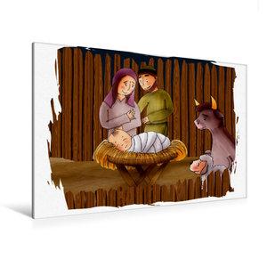 Premium Textil-Leinwand 120 cm x 80 cm quer Jesus wird im Stall