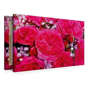 Premium Textil-Leinwand 75 cm x 50 cm quer Rosenstrauss in pink