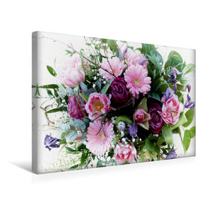 Premium Textil-Leinwand 45 cm x 30 cm quer Bunter Blumenstrauß