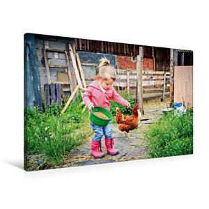 Premium Textil-Leinwand 90 cm x 60 cm quer Kleines Mädchen fütte