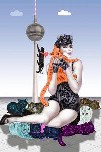 Premium Textil-Leinwand 50 cm x 75 cm hoch Mädchen mit Raubkatze