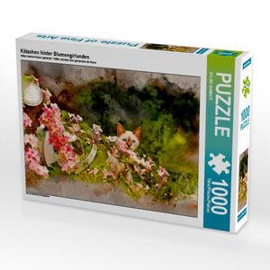 Kätzchen hinter Blumengirlanden 1000 Teile Puzzle quer