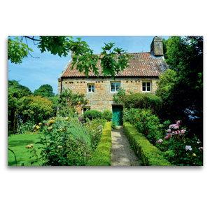 Premium Textil-Leinwand 120 cm x 80 cm quer Haus mit Garten auf