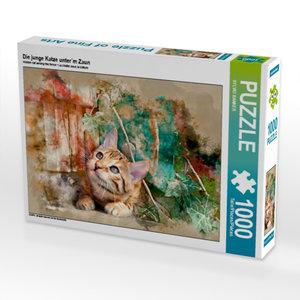 Die junge Katze unter´m Zaun 1000 Teile Puzzle quer