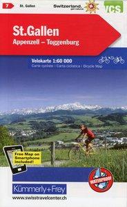 Radwanderkarte St. Gallen - Appenzell - Toggenburg mit Ortsindex