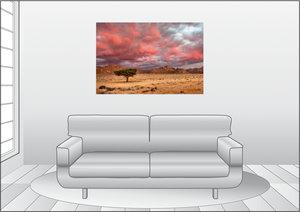 Premium Textil-Leinwand 120 cm x 80 cm quer Rosa Wolken über dem