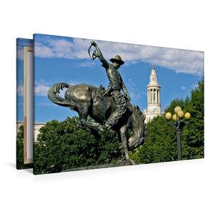 Premium Textil-Leinwand 120 cm x 80 cm quer Bronco Buster Statue