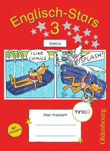 Englisch-Stars 3. Schuljahr. Übungsheft Comics mit Tingfunktion