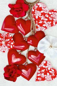 Premium Textil-Leinwand 80 cm x 120 cm hoch Rote Herzen
