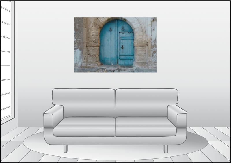Premium Textil Leinwand 120 Cm X 80 Cm Quer Blaue Hinterhof Tur