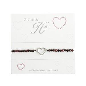 """Armband mit Echtsteinen Granat mit Symbol \""""Herz\"""""""