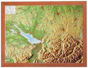 Relief Region Allgäu Bodensee 1:400.000 mit Holzrahmen