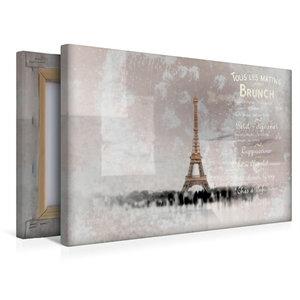 Premium Textil-Leinwand 45 cm x 30 cm quer PARIS Collage