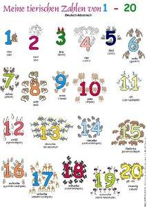 Meine tierischen Zahlen von 1-20. Poster Deutsch / Albanisch