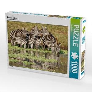 Äsende Zebras 1000 Teile Puzzle quer