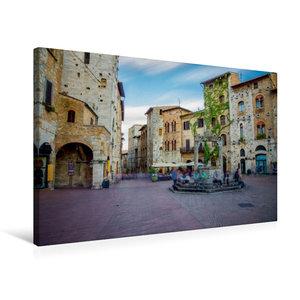 Premium Textil-Leinwand 75 cm x 50 cm quer San Gimignano Brunnen