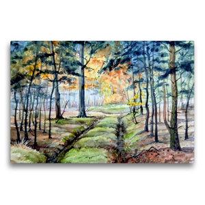 Premium Textil-Leinwand 75 cm x 50 cm quer Waldweg