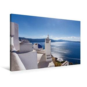 Premium Textil-Leinwand 90 cm x 60 cm quer Oia - Sonnenstrahlen