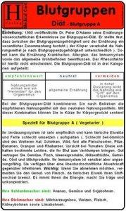 Blutgruppen - Diät A -. Medical Card DIN A5