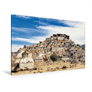 Premium Textil-Leinwand 120 cm x 80 cm quer Dorf und Kloster in