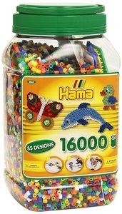 Hama 2062 - Dose mit 3 Platten, 16.000 Perlen, bunt, im Farbmix