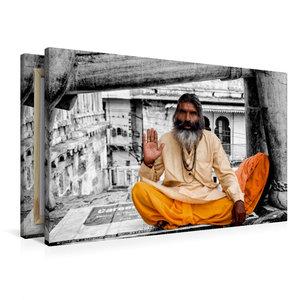 Premium Textil-Leinwand 90 cm x 60 cm quer Indien - heiliger Man