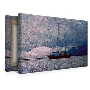 Premium Textil-Leinwand 45 cm x 30 cm quer Mit dem Segelboot vor