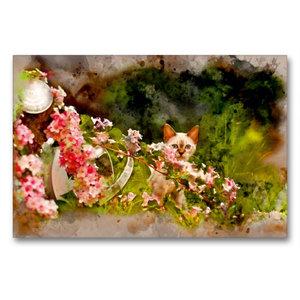 Premium Textil-Leinwand 90 cm x 60 cm quer Kätzchen hinter Blume