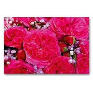 Premium Textil-Leinwand 90 cm x 60 cm quer Rosenstrauss in pink