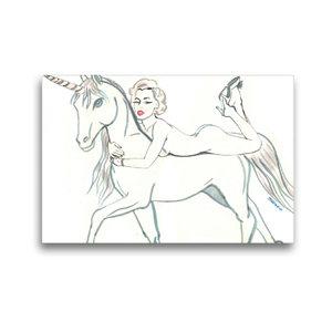 Premium Textil-Leinwand 45 cm x 30 cm quer das Marylin unicorn,