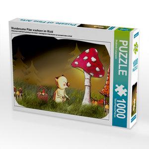 Wundersame Pilze wachsen im Wald 1000 Teile Puzzle quer