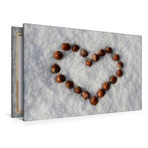 Premium Textil-Leinwand 120 cm x 80 cm quer Haselnuß-Herz