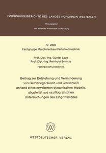 Beitrag zur Entstehung und Verminderung von Getriebegeräusch und
